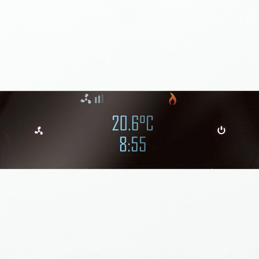 A picture of the Basalte Deseo smart controller which is showing the current temperature as 20.6 degrees celsius