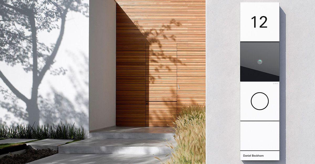A picture of a front door intercom